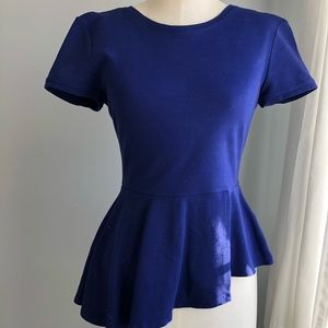 BCBG Cobalt blue peplum top